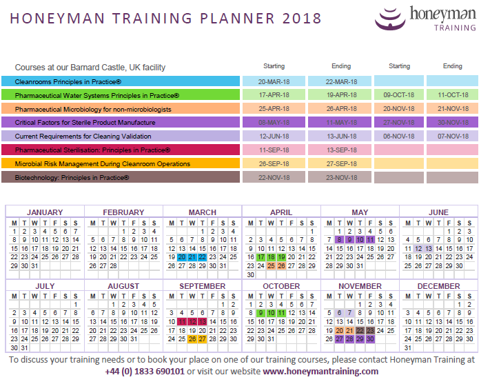 Course Calendar Utm Planner : Pharmaceutical training courses international honeyman