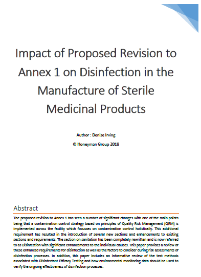 DET Annex 1 Impact on Disinfection in the Manufacture of Sterile Medicinal Products